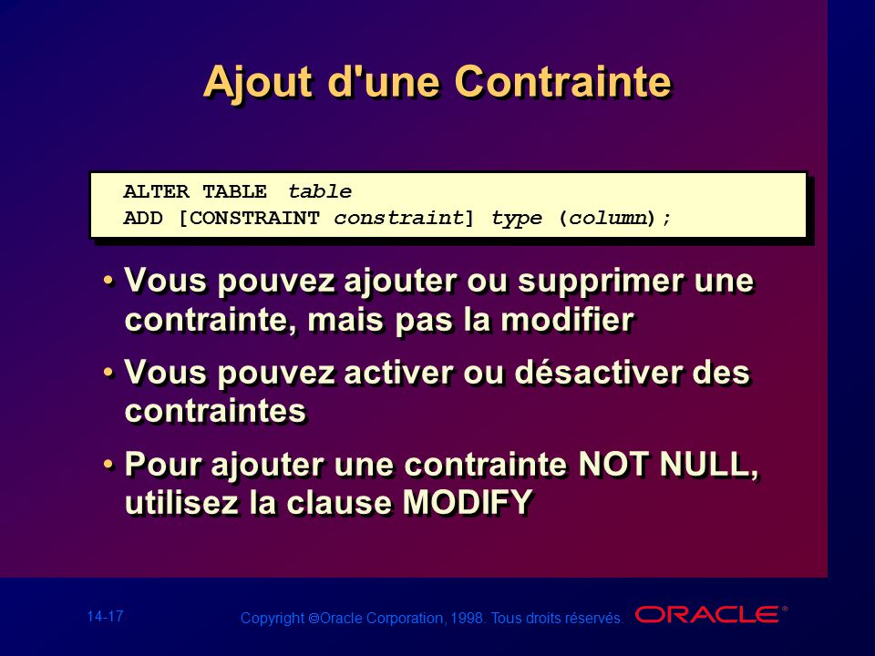Les contraintes ppt t l charger - Alter table add column not null ...